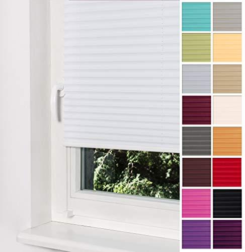 Home-Vision Premium Plissee Faltrollo ohne Bohren mit Klemmträger / -fix (Weiß, B55cm x H120cm) Blickdicht Sonnenschutz Jalousie für Fenster & Tür
