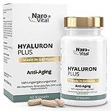 NaroVital Hyaluron Plus - Hochdosiert 553 mg - Anti-Aging & junge Haut - Mit Hyaluronsäure 500-700 kDa, Niacin, Vitamin B2, Kupfer, Selen, OPC, L-Cystein & Vitamin E - Vegan - 60 Kapseln