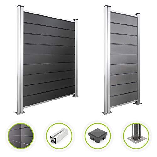 HORI WPC-Zaun Design l Sichtschutz-Zaun, Steckzaun, Gartenzaun Komplettset l zum einbetonieren I Grau
