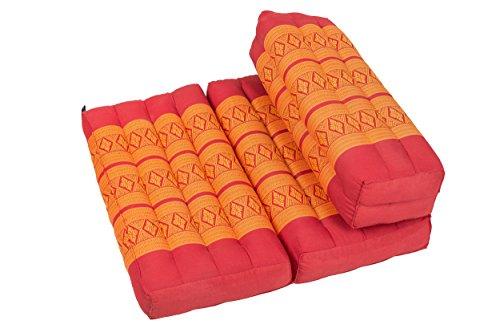 Handelsturm Faltbares Meditationskissen, Meditationssitz für Verschiedene Meditationstechniken, ALS Zafu und Zabuton, für Anfänger geeignet mit Fester Füllung aus Kapok, Thai Style rot orange