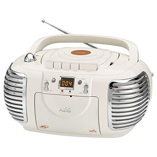 AEG NSR 4377 Retro-Stereokassettenradio mit CD/MP3/USB mit Kassettenplayer, Aux-in, LCD-Display crème