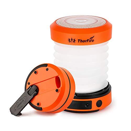 ThorFire Campinglampe LED Laterne Dynamo Taschenlampe 2 in 1 mit Handkurbel oder via USB Aufladbar Nachtlicht Zeltlampe Ausziehbar Verkleinerbar Campingleuchte für Angeln Outdoor Camping