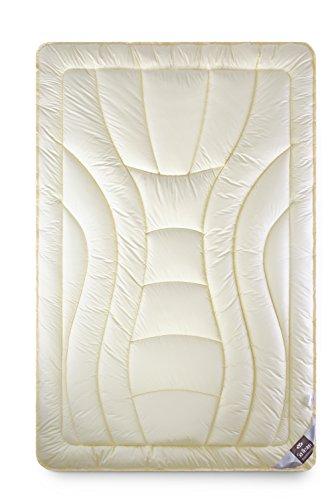 sei Design Wolle Duo-Bettdecke Premium Qualität mit Feinste Schurwolle gefüllt – 135x200 extrawarm. Füllung besteht aus Zwei Lagen Wärmeisolation. Bezug - feiner Mako-Satin 100% Baumwolle