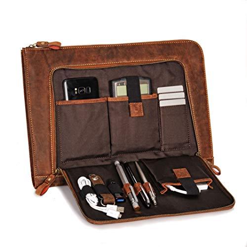 Donbolso Notebook Sleeve London braun - 13,3 Zoll Din A4 Laptop und Netbook Aktentasche aus Leder für Herren und Damen