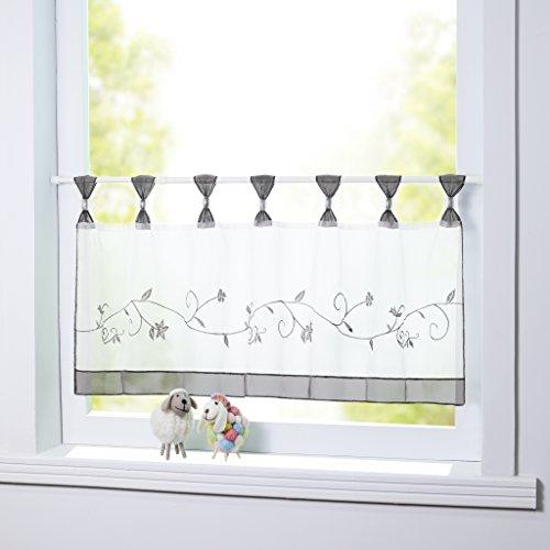 Joyswahl Scheibengardine Voile Bistrogardine 'Selina' mit Blumen-Stickerei Muster Transparente Gardine HxB 45x90cm Grau 1er Pack