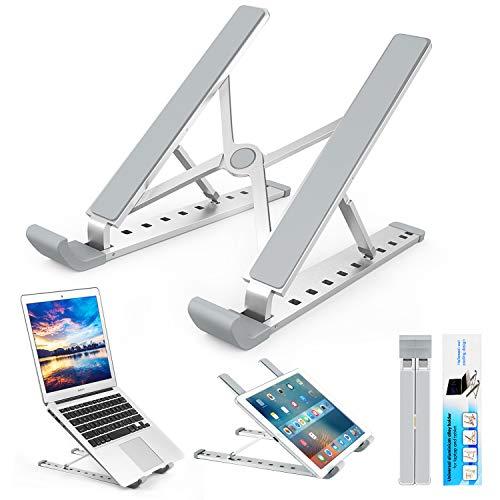 Laptop Ständer, Multi-Winkel Verstellbar, Höhe Einstellbar, Yuede Premium Faltbar Aluminium Tablet Halterung Stand Halter für 10-17 Zoll Notebook/iPad/MacBook, Silber