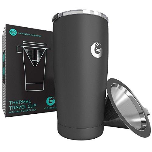 Persönlicher Thermobecher mit Kaffeebrüh-Funktion 585ml - Vakuum-isolierter Edelstahl Pour Over Kaffeebereiter mit Verschlussdeckel - Kaffeebecher to go von Coffee Gator (Grau)