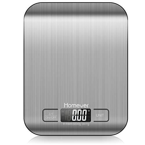 Homever Digitale Küchenwaage, Präzision auf bis zu +/- 1g Küchenwaage Digital Klein, 5kg Maximalgewicht, Tare-Funktion küchenwaage mit LCD Display, Auto-Off, Aus Edelstahl