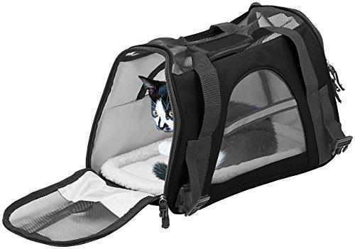 Sweetypet Katzentasche: Hand- & Auto-Transporttasche für Kleintiere bis 3 kg, Größe S, schwarz (Hundebox)