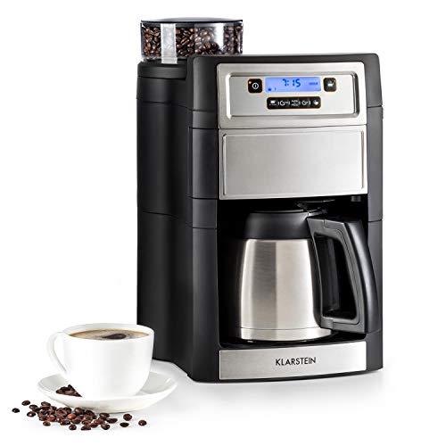 Klarstein Aromatica II Kaffeemaschine mit Mahlwerk • Filter-Kaffeemaschine • 1000 Watt • 1.25 Liter Thermoskanne • 24-Stunden-Timer • LCD-Display • inkl. Permanent- und Aktivkohle Filter • silber