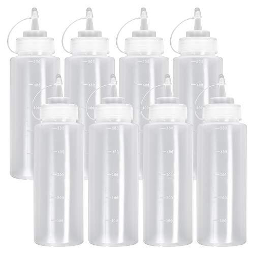 8 Stück Squeeze Flasche mit Kappe, Saucenflasche Quetschflasche, Groß (500 ml) - Auslaufsicher & 100% BPA Frei - Plastikflaschen Gewürzspender für Condiment Sauce Dressings Senf Ketchup Öle.