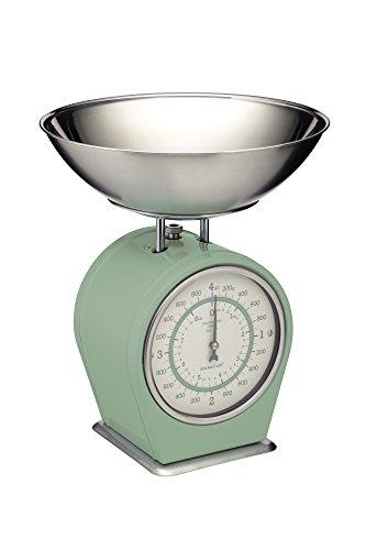 Kitchen Craft Living Nostalgia Mechanische Küchenwaage, 4 kg (8 lbs) -Englischer Salbei, Stahl, English Sage, 25 x 25 x 30 cm