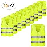 FEMOR Warnwesten, 10PCS Sicherheitswesten für Auto, Fahrrad, waschbar, knitterfrei, (Gelb)