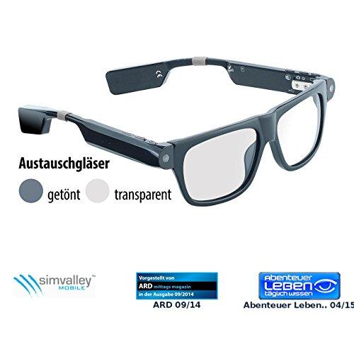 simvalley MOBILE Bluetooth Brille: Smart Glasses SG-100.bt mit Bluetooth und 720p HD (Brille mit Kamera Bluetooth)