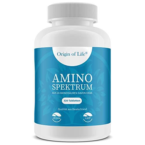 AMINO SPEKTRUM - 320 Tabletten vegan | Hochdosiert mit je 1000mg für 40 Tage | Komplex aus 18 Aminosäuren inkl. 8 EAA´s & BCAA | Laborgeprüft - Hergestellt in Deutschland ohne Magnesiumstearat