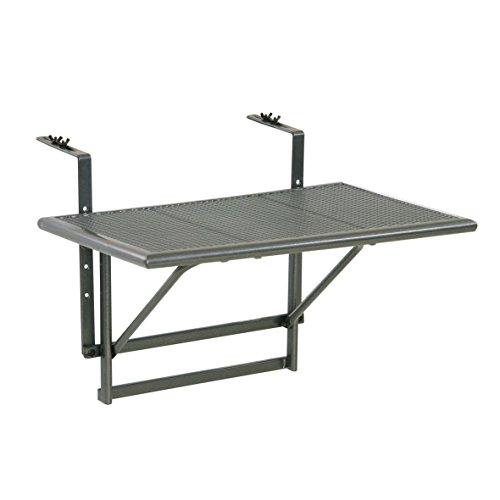 Balkonhängetisch 'Gjøvik' - Balkontisch zum Einhängen aus Streckmetall & Kunststoffummantelung - Klapptisch kleiner Balkon - witterungsbeständig - Outdoor-Tisch, ca.60 x 40 x 56 cm, anthrazit-grau