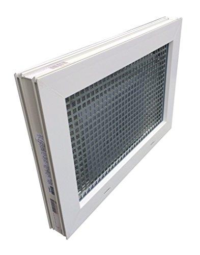 Kellerfenster weiss 80 x 40 cm Isolierglas 3.3 mit Schutzgitter, montierter Insektenschutz, 4 Fensterbauschrauben