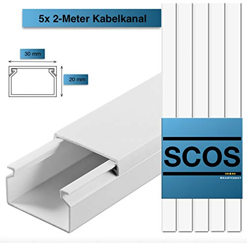 SCOS Smartcosat 10 m Kabelkanal (30 x 20 x 2000 mm (5 Stück a 2 m) B x H x L, Weiß/Weiss/Reinweiß) schraubbar PVC Kunststoff, Aufputz Wand Montage allzweck Kabelleiste, Kabelschacht