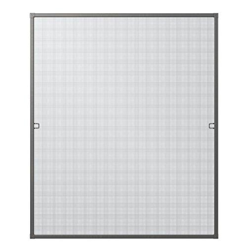 Rhino Screen Insektenschutz Fenster Spannrahmen Fliegengitter für Fenster Fenstergitter Fliegenschutz, aus Aluminium, anthrazit, 100 x 120 cm, 03753