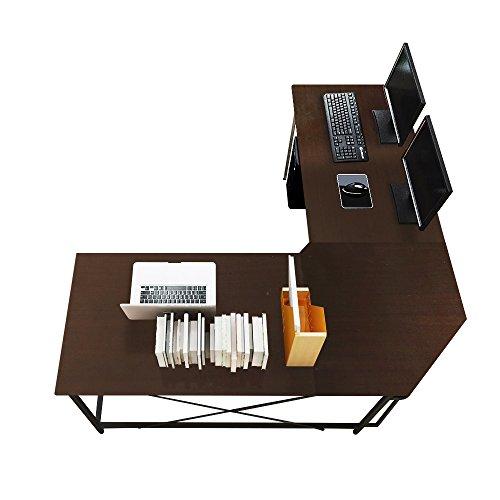 DlandHome 150 cm + 150 cm Computertisch Eckschreibtisch Winkelschreibtisch L-förmig, großer Gaming Schreibtisch Arbeitstisch Bürotisch PC Laptop Studie Tisch mit CPU-Ständer,Schwarz & Schwarz