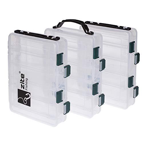Zite Fishing Köderbox-Set - 3 doppelseitige Köderboxen mit Tragegriff 20x15,5x4,5cm - Kunstköder-Box für Wobbler, Blinker usw.