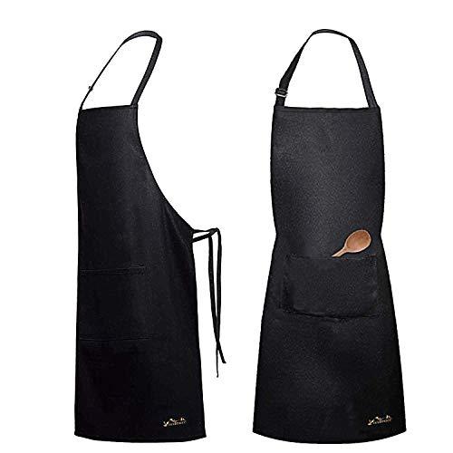 Viedouce 2 Pack Schürze Kochschürze Küchenschürze Wasserdicht,Schwarz Grillschürze,Backschürze mit Verstellbarem Nackenband Taschen, Latzschürze kochschürze für Frauen Männer Chef