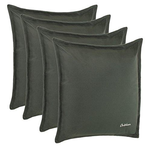 Outdoor Kissen Dekokissen - Schmutz- und Wasserabweisend mit Reißverschluss 2 cm Steg - 350 gr. Füllung - Größe: 48 x 48 cm - Farbe: Dunkelgrau - 4er Vorteilspack von Brandsseller