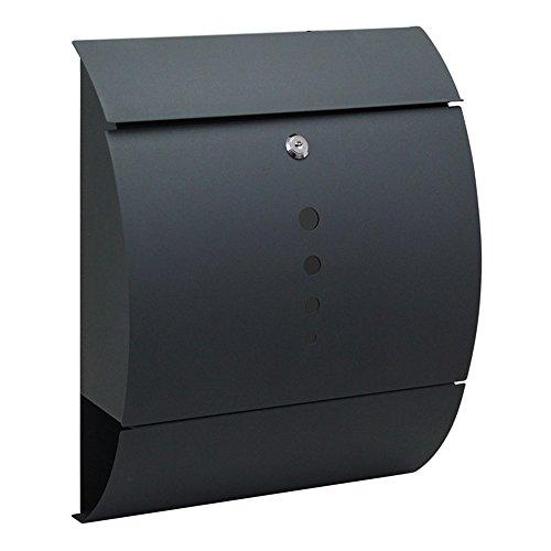 HENGMEI Edelstahl Briefkasten Anthrazit mit Zeitungsrolle Postkasten Wandbriefkasten Mailbox Groß Zeitungsfach Edelstahl pulverbeschichtet (Modell B)