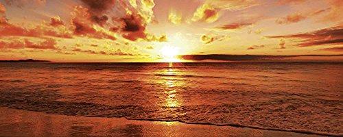 Artland Qualitätsbilder I Glasbilder Deko Glas Bilder 125 x 50 cm Landschaften Gewässer Meer Foto Orange D8PH Schöner tropischer Sonnenuntergang am Strand