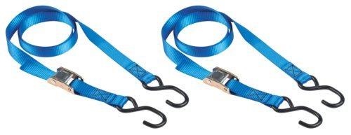 Master Eco 4368EURDAT Set Riemen, mit selbstsichernden Schnallen und S-Haken, blau, 2m x 25mm, 2Stück