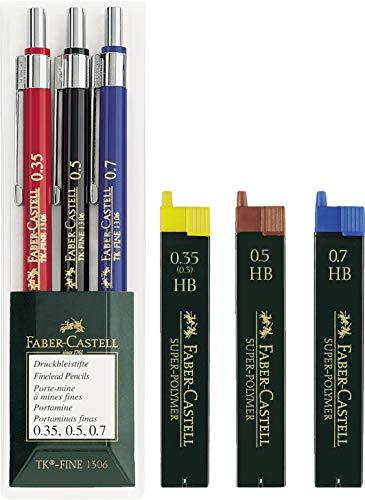 Faber-Castell 130622 Druckbleistift TK-FINE 3er Etui (je ein Stift 0,35 mm, 0,5 mm und 0,7 mm) Spar-Set