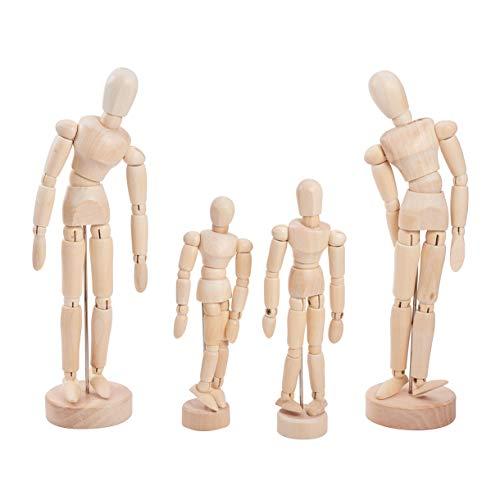WANDIC Holz-Manikin Blockhead 4 Stück Holz-Künstler-Figur Puppen-Modell für Skizze Holzkohle Zuhause Büro Schreibtisch Dekoration Kinder Spielzeug Geschenk