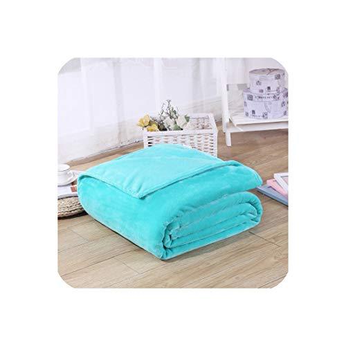 Goods-Store-uk Einfarbige Flanell-Fleece-Decke, superweich, kariert, Sofa-Überzug, Winter, warme Bettlaken, einfach zu waschen, Kunstfelldecken, Blau, 100 x 140 cm