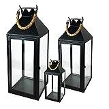 Mojawo 3er Set XXL Gartenlaterne Metall Windlicht Laternen Kerzenhalter Set Höhe 25/40/51cm mit Seilgriff Schwarz