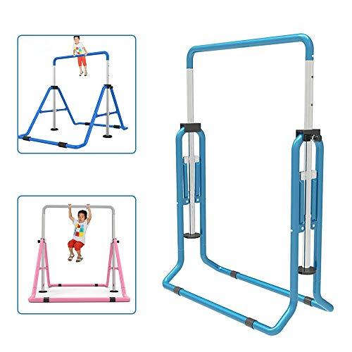 SHIOUCY Turnreck Gymnastik Kinder Garten Reck Reckanlage Turnstangen Horizontale Training Bar Trainingsgeräte Outdoor Fitness Höhenverstellbar (Blau)