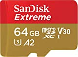SanDisk Extreme 64GB microSDXC Memory Card + SD Adapter with A2 App Performance + Rescue Pro Deluxe, up to 160MB/s, Class 10, UHS-I, U3, V30