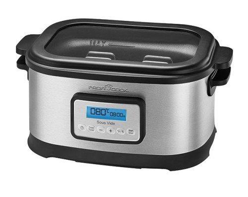 Profi Cook SV-1112 Sous Vide-Schongarer Topf und Vakuum für Küche Kochen bei niedrigen Temperaturen, Energieklasse A, 8,5L, 520W, Grau / Schwarz