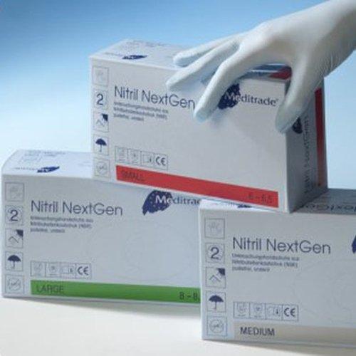 Meditrade 1283L Nitril NextGen Extrem Dehnbare Untersuchungs und Schutzhandschuh, Puderfreie, Unsteril, Größe Large, Blau (100-er pack)