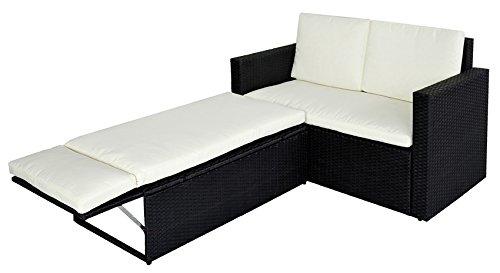 POLY RATTAN Lounge Gartenset Sofa Garnitur Polyrattan Gartenmöbel (Schwarz)