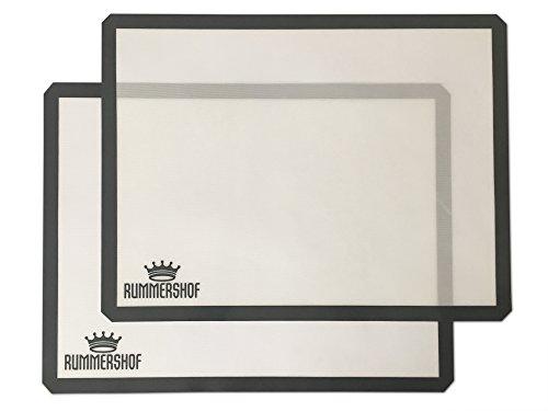 Rummershof Silikon Backmatten BPA-frei (2er Set): Silikonmatte groß (30x40 cm) - Haltbare Dauerbackfolie grau - Backfolie - Backunterlage