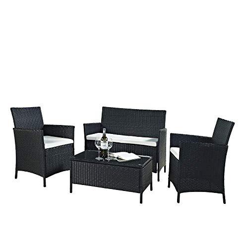 EBS Polyrattan Gartenmöbel set Gartengarnitur Sitzgruppe Lounge Garnitur 1 Tisch 3 Stühle Weiß Sitzkissen (Schwarz)