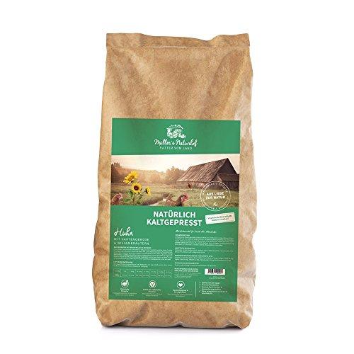 Müllers Naturhof | Huhn | 15 kg | Gartengemüse + Wiesenkräuter | Natürlich kaltgepresst | Trockenfutter für alle Hunderassen | Traditionell hergestellt