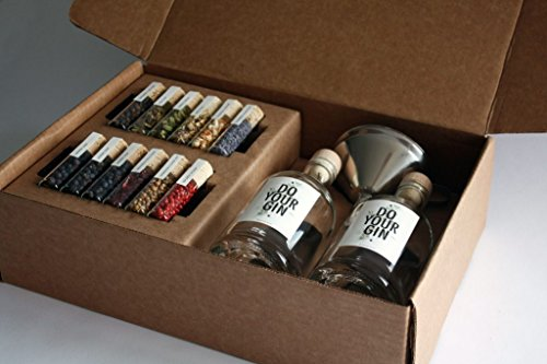 DO YOUR GIN – Komplettes Gin Set | Gin selber-machen | 12 Hochwertige Botanicals in schönen Gewürz-Flaschen | Perfektes Geschenk für Männer und Frauen | Gin-Baukasten | 10 Verschiedene Gin Gewürze
