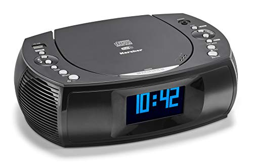 Karcher UR 1309D Radiowecker mit MP3 / CD Player und DAB+ / UKW Radio (je 20 Senderspeicher) - Wecker mit Dual-Alarm, USB-Charger & Batterie Backup Funktion