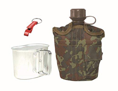 US ARMY Feldflasche mit ALU Becher + AOS-Outdoor Flaschenöffner flecktarn