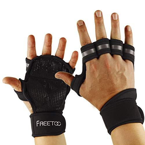 FREETOO Fitness Handschuhe mit Gelenkbandage Voll Palm Schutz & Extra Grip, Atmungsaktive und Rutschfest Ideal für Klimmzug, Langhantel, Cross-Training, WODs und Kraftsport Herren und Damen