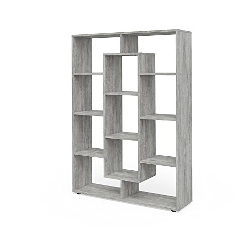 VICCO Raumteiler 11 Fächer Bücherregal Standregal Aktenregal Hochregal Aufbewahrung Regal (Beton)