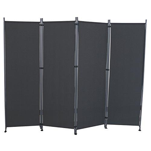 HENGMEI Paravent Sichtschutzwand Raumteiler Stellwand Raumteiler Trennwand Sichtschutz (215x170cm,4 Teile, Anthrazit)
