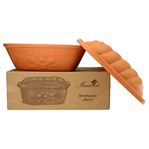 MamboCat Terrakotta-Topf Berti zur Brot-Aufbewahrung I 100% Natur Ton-Behälter mit Deckel hält Toast u. Brötchen länger frisch I großer Keramik-Brotkasten unglasiert 16,5 x 24,3 x 36 cm