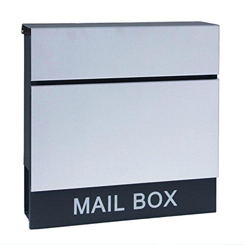 LZQ Neu Typ Zeitlosem Design Edelstahl Briefkasten, Wandbriefkasten mit Zeitungsfach, A4 Einwurf-Format, Abschließbar (Modell H)